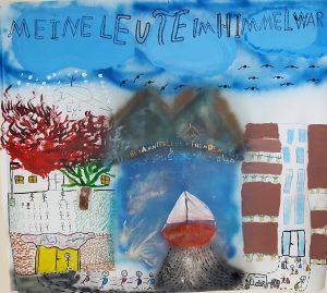 Gemaltes Bild mit Himmel, brennendes Haus, Schiff und dann Großstadt-Skizze